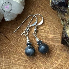 Larvikite & Silver Earrings